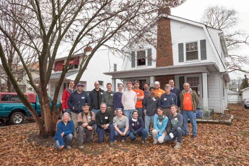 Attendees of the windows workshop gather outside the Westgate home. Photo courtesy of Stephen Newport.